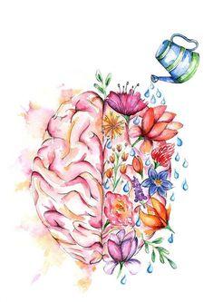 Watercolour Anatomy Art PRINT Flower Brain