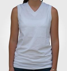 Ladies Sleeveless VNeck Made in USA by ALL AMERICAN Clothing Co.  50/50 Polyester Overlap V-neck. Women's cut armholes with rib sleeve bands on armhole openings. Straight hemmed bottom. http://www.allamericanclothing.com/made-in-usa/SLVN.html