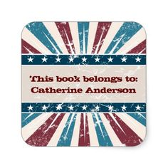 Patriotic Starburst Bookplate Sticker
