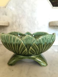 Green Drip Glaze Planter Mid Century Green Planter Leaf  Cabbage Leaves Vintage 1950's Collectible Gardener's Gift Valentine Gift Home Decor by Samanthasunshineshop on Etsy