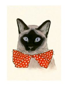 Siamese Cat Art   Red Bow Tie  58 X 83 print by matouenpeluche, $12.00