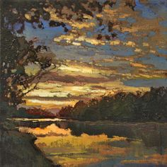 lakesunset by Jan Schmuckal Oil ~ 12 x 12 Arts And Crafts For Teens, Art And Craft Videos, Arts And Crafts House, Landscape Art, Landscape Paintings, Arts And Crafts Interiors, Artist And Craftsman, Craftsman Style, Selling Paintings