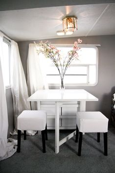 Norden table offered by Ikea. It has 6 drawers for storage and lots of table space for dining.
