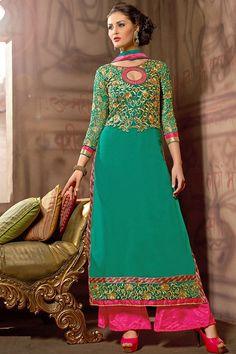 Vibrant Green color Designer Salwar Kameez