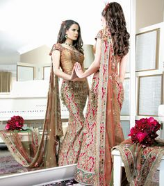 ORNATE BROCADE BRIDAL  W163  Stunning bold brocade print skirt highlighted with beadwork and swarovskis, complimented with an antique top and green border on the skirt which is beautifully embellished with a zardosi, crystal and threadwork.