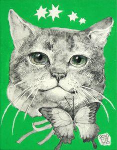 Title:「トラちゃん」 Artist:「ヒグチユウコ」 Comment:「カランダッシュのテクナロをつかって描いています」 Higuchi Yuko Green eyed cat