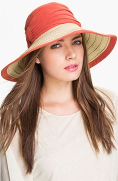 Nordstrom Linen Crown Sun Hat in either White, Taupe, Hot Pink, or Black.  $32.00