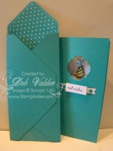 """Envelope Punch Board makes a very cool 3"""" x 6"""" envelope for a fun long card.  Whoo hoo.  Any card size you make...you can now make an envelope!  - Deb Valder"""