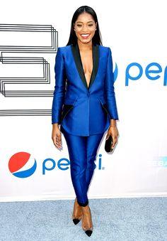Women in Menswear Keke Palmer Keke Palmer, Look Formal, Formal Wear, Royal Blue Suit, Blue Suits, Female Tux, Blue Tuxedos, Classy Outfits, Boss Lady