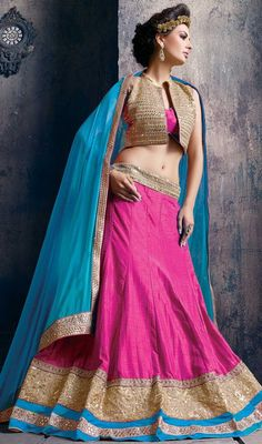 Look simple and elegance draping this pink color a line silk embroidered choli skirt. This enticing choli is displaying some astounding embroidery done with lace, resham and sequins work.  #kotystylelehengacholi #ghagaracholi #pinkcolorlehengacholis