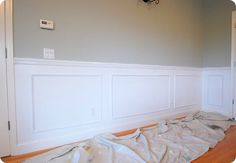 Faux wainscoting wall panels. I am obsessed with these. Shawn and I are talking about them in our middle bath.