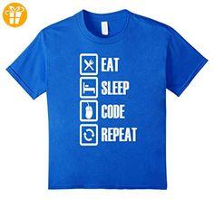 TeeLove: Eat Sleep Code Repeat T Shirt Kinder, Größe 128 Königsblau (*Partner-Link)