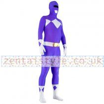 Blue and White Lycra Spandex Superhero Zentai Suit Full Body
