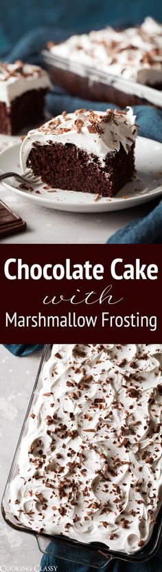 Chocolate Cake with Marshmallow Frosting - Rich and chocolatey cake topped with a light as air marshmallow frosting - that tastes like melted marshmallows! Such an irresistible cake and flavor combination! #chocolate #cake #dessert #christmas via @cookingclassy