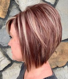 The Full Stack: 50 Hottest Stacked Haircuts Long Stacked Auburn Bob With B. Inverted Bob Hairstyles, Stacked Bob Hairstyles, Long Bob Haircuts, Short Layered Haircuts, Hairstyles Haircuts, Straight Hairstyles, Pixie Haircuts, Medium Hairstyles, Braided Hairstyles