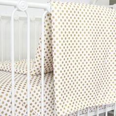 Caden Lane | Blanket | Aqua and Gold Dot Ruffle Crib Baby Bedding Set