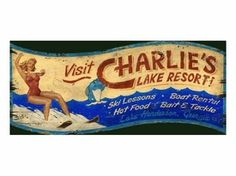 Customizable Charlies Lake Resort Vintage Style Wooden Sign Wall Art Wall Decor Home