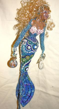 The Treasure Hunter Beaded Art Doll Mermaid by heathershaven