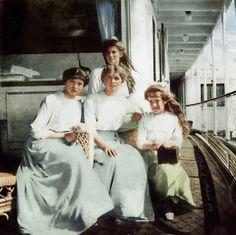 Daughters of the last Russian Tsar Nicholas II, Grand Duchesses Olga, Tatiana, Maria & Anastasia in 1913.