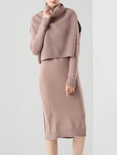 Two Piece Knitted Cotton-blend Casual Sweater Dress