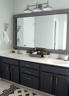 Re-stain cabinets in jack and Jill bathroom