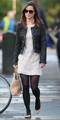 November 25, 2011 - Pippa knows how to winterize her looks! Here, she took a white lace H&M dress and paired it with a Chanel-inspired black tweed jacket, black tights, nude flats, and a matching neutral quilted bag by Lamb 1887.