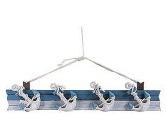 Appendino in legno Ancora bianco/azzurro, 70x16x6 cm