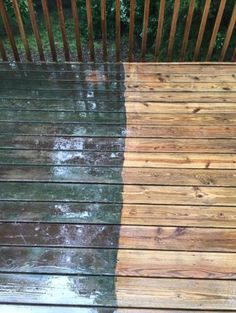 Deck before (left), and after (right), the Renew Crew of Charlotte clean.