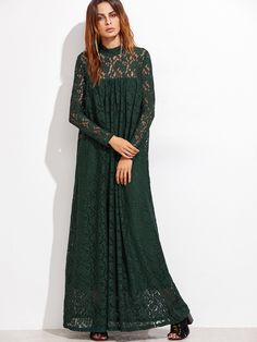 Shop Dark Green Illusion Neck Floral Lace Dress online. SheIn offers Dark Green Illusion Neck Floral Lace Dress & more to fit your fashionable needs.