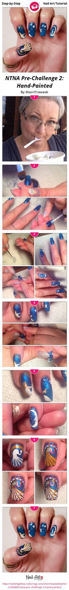 NTNA Pre-Challenge 2: Hand-Painted by SherriTraweek - Nail Art Gallery Step-by-Step Tutorials nailartgallery.nailsmag.com by Nails Magazine www.nailsmag.com #nailart