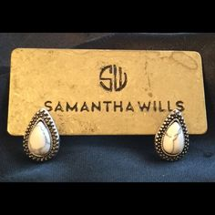 """Samantha Wills Mini Bohemian Bardot Earrings These stud earrings feature the teardrop shape with white Howlite stone and antique silver. Height: 1/2"""" Width: 1/4"""" Samantha Wills Jewelry Earrings"""