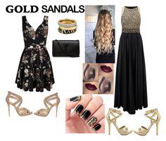 """gold sandals"" by itssarebabi on Polyvore featuring Michael Antonio, Mela Loves London, Ariella, Jimmy Choo, Yves Saint Laurent, Michael Kors and goldsandals"