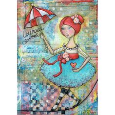 Tightrope Walker Pretty Ballerina Circus Girl Art PRINT 8x10 Whimsical... ($20) ❤ liked on Polyvore featuring home, home decor, wall art, autumn paintings, rose wall art, face painting, turquoise painting and red painting