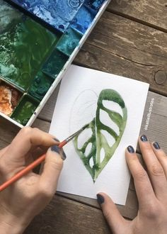 Watercolor Monstera Adensonii illustration video Short timelapse of a botanical painting Watercolor Paintings For Beginners, Watercolour Tutorials, Watercolor Plants, Watercolor Art, Watercolor Video, Watercolor Sketchbook, Watercolor Illustration, Illustration Botanique, Art Drawings