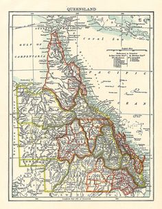 old map of queensland australia printableimages oldmaps antiquemaps vintageimages
