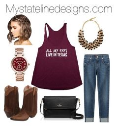 """""""All my exes live in Texas tank! Online at mystatelinedesigns.com"""" by ellyse-espinoza on Polyvore featuring Michael Kors, 7 For All Mankind, Ariat, Etro and Kate Spade"""