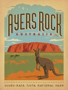 Anderson Design Group Premium Thick-Wrap Canvas Wall Art Print entitled Ayers Rock, Australia - Retro Travel Poster, None Posters Decor, Cool Posters, Retro Posters, Vintage Travel Posters, Vintage Postcards, Vintage Advertisements, Vintage Ads, Ayers Rock Australia, Perth Australia