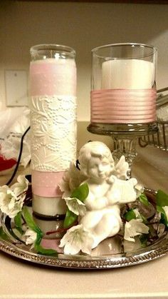 Baby angel party theme simple but lovely centerpiece for your angel wedding pillar candles - Simple baptism centerpieces ...