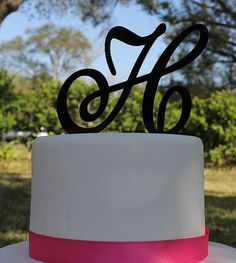 Single Initial Monogram Cake Topper by ten23designs on Etsy