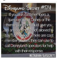 """- Disney cast members can't say """"I don't know"""" when they're asked a question. Disney World Facts, Disney World Secrets, Disney Fun Facts, Disney Tips, Disney Memes, Disney Quotes, Funny Disney, Disney Planning, Disney Magic"""