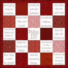 have each guest fill out a square with a scripture. make quilt with it later and give as a wedding gift. Hand Embroidery Patterns, Cross Stitch Embroidery, Quilt Patterns, Sewing Patterns, Psalm 100, Psalms, Work This Out, Panel Quilts, Lap Quilts