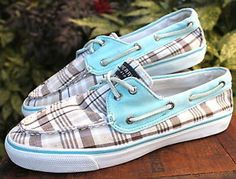 Sperry-Top-Sider-Plaid-Oxford-Boat-Shoes-Women-9-5