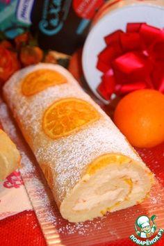 Бисквитный апельсиновый рулет - кулинарный рецепт