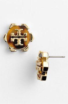 Tory Burch 'Walter' Logo Stud Earrings