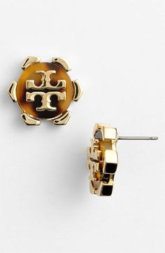 Tory Burch 'Walter' Logo Stud Earrings