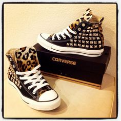 Custom studded Converse Chuck Taylors with faux by KillerCreationz.this shoes ive wanted for the longest time lol Leopard Converse, Studded Converse, Converse All Star, Converse Shoes, Converse Chuck Taylor, Shoes Heels, Black Converse, Diy Converse, Studded Sneakers