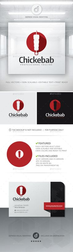 Chickebab Logo — Vector EPS #spicy #kebab logo • Available here → https://graphicriver.net/item/chickebab-logo/11356358?ref=pxcr