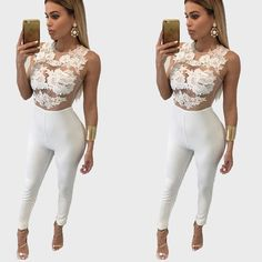 6f77a790f64 Summer Ladies Sexy Party Playsuits Overalls Women Fashion Sleeveless Lace Jumpsuits  Rompers Long Pants Bodysuits - White