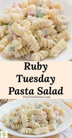 Aug 2019 - Easy Ranch Pasta Salad Recipe - Easy Ruby Tuesday copycat pasta salad with ham and peas mixed in a super creamy ranch dressing served cold. Perfect for summer parties, picnics, tailgates, and dinner side dish. Mayo Pasta Salad Recipes, Easy Pasta Salad Recipe, Vegetarian Salad Recipes, Easy Salad Recipes, Simple Pasta Salad, Ruby Tuesday Pasta Salad Recipe, Pasta Salad Dressings, Picnic Salad Recipes, Tuesday Recipe