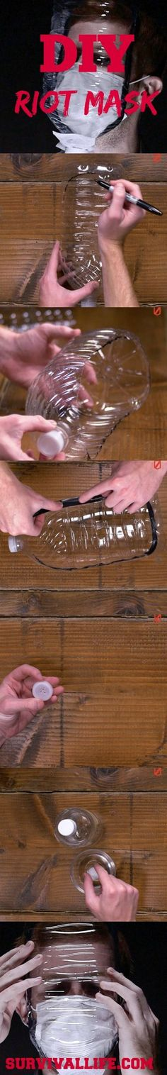 In Any Emergency Situation it's always best to be resourceful, this DIY tutorial is an Alternative Gas Mask that will help you breath easily in a riot. See full video tutorial at survivallife.com/...